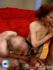 Ancient grandma sucks two hard cocks