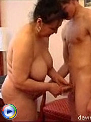 Young fucker enjoys banging a fat as mature housewife