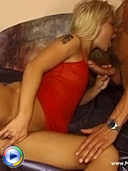 Amazing mommy with tattooed back enjoys working big cock deep into her throat.