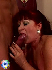 Wild mature redhead spreads her legs for some big dick as she has multiple orgasms