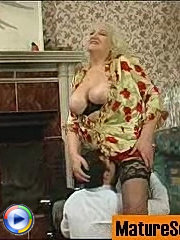 Fat blonde grandma sucks cock and gets her twat licked