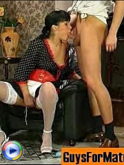 Sweltering mature french maid luring kinky guy into breathtaking fucking