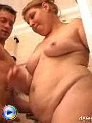 Hot tight macho gives an old pussy a great fuck right in the shower