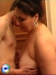 Sex hungry mature whore rides a young man's hard cock on floor
