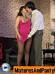Seductive mature chick in control top pantyhose getting screwed on armchair