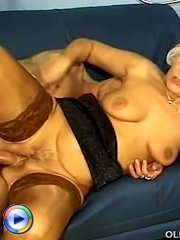 Busty mature doll with hood piercing anal penetration