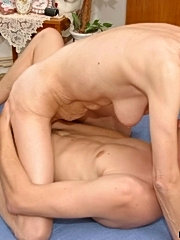 Mommy play with her enormous tits sucks cock and gets asslicked