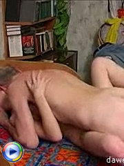Horny old man enjoys drilling a lovely young tight wet pussy
