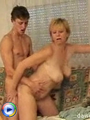 This milf got very lucky to get her pussy stretched by young hard cock