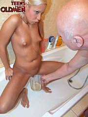 Teeny slut loves to drink old mans piss