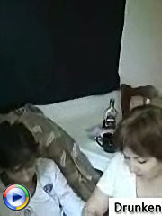 Young lad brought his mature girlfriend to his place and they had a crazy drunk fucking till the late morning