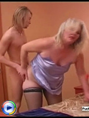 Young lad catches milf with a dildo and shows her the pros of a real young hard dick