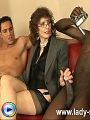 Kinky interracial handjob
