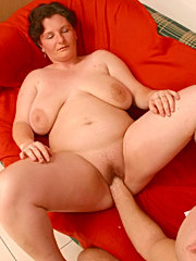 Mature bbw brunette plumper with big fat natural breasts tittyfucking