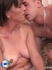 Mature whore pleases a sex starved young dick with her wet pussy