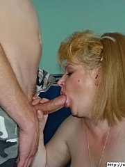 Blonde babe gives a sweet blowjob and hot asslick
