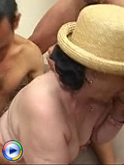 Cock hungry granny gets gangbanged