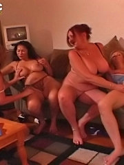 Chubby moms in group lesbian sex