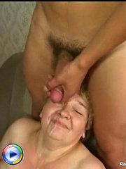 Cock-hungry stout oldie enjoys young lad's hard dick