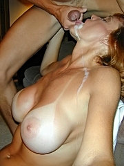 Older amateur sucks her way to a sticky facial