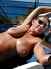Massive titted wifey laps up messy cummy load