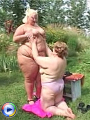 Lusty bbw blonde lesbos dildo fucking each other