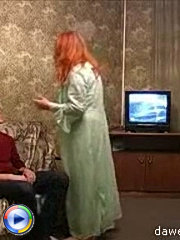 Big hot redhead milf gets busy banging with a teen hunk on the couch