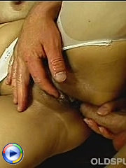Mature blonde in white fishnet stockings asslicked before brutal anal sex