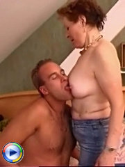 Redhead milf sucking lad's hard dick and getting all of it in doggie-style