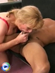 Blonde mature riding wildly on huge cock