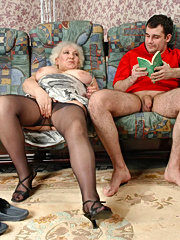 Gorgeous mature lady in shiny pantyhose