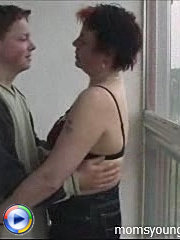 Lucky lad fucks a trashy mature slut on the balcony