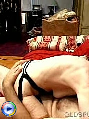 Mature man licking fat hairy mature pussy on bed