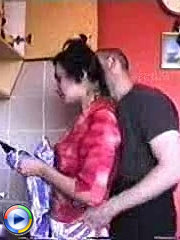 Old neighbor fucks her lick her tits and fucks her tight pussy in the kitchen