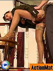 Mature businesswoman getting guy?s cock out in the open longing for fucking
