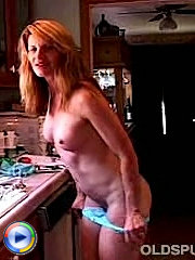 Old granny strips out of lingerie shows mature tit