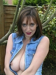Busty amateur in the garden